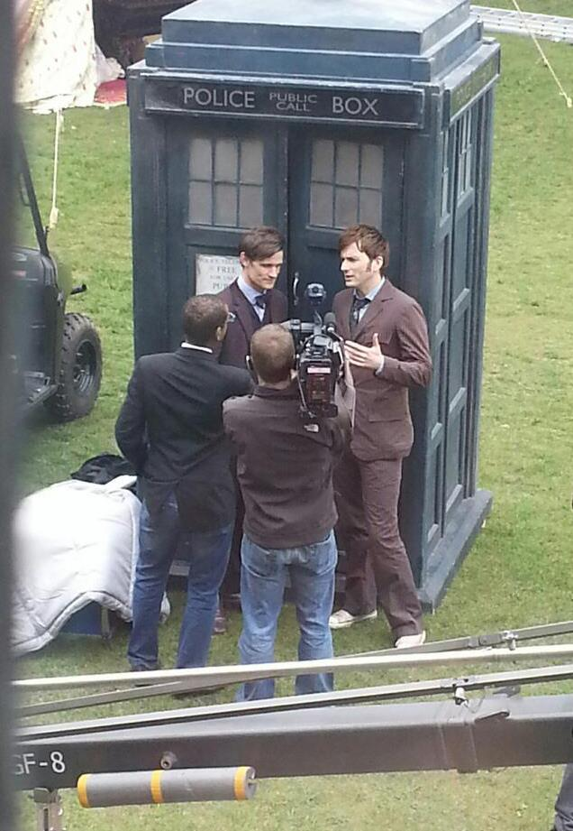 Matt Smith and David Tennant on the set of Dr Who